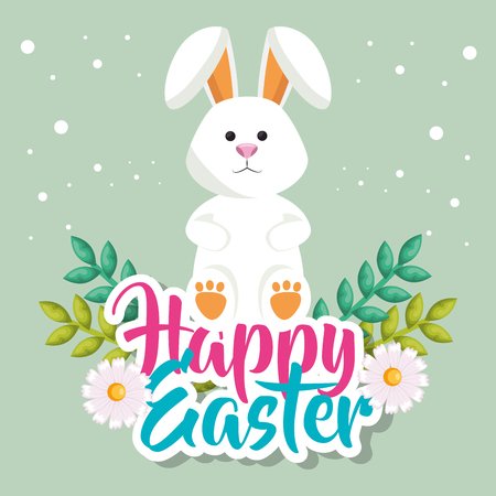 cute rabbit happy easter celebration vector illustration design Ilustração