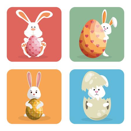 rabbit with eggs painted easter celebration vector illustration design Illustration
