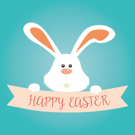 cute rabbit happy easter celebration vector illustration design Illustration
