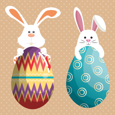 rabbit with eggs painted easter celebration vector illustration design 向量圖像
