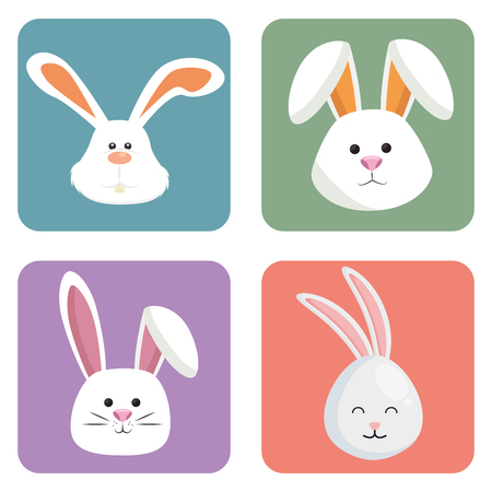 cute rabbits set heads icons vector illustration design Vettoriali
