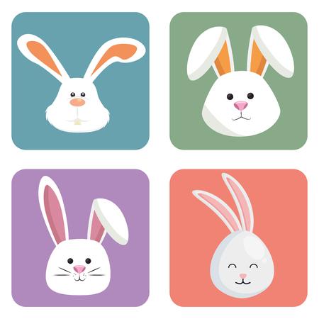 cute rabbits set heads icons vector illustration design Vectores