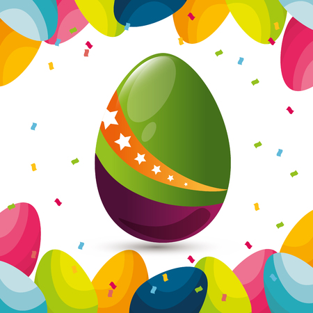 eggs painted happy easter celebration vector illustration design