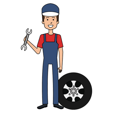 mechanic worker with tire and wrench avatar character vector illustration design