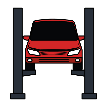 car in synchronization platform vector illustration design