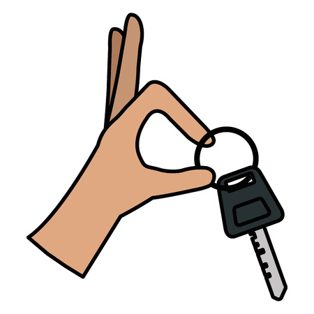 hands with car key isolated icon vector illustration design