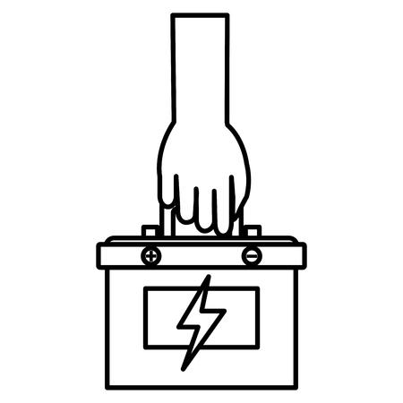 バッテリーカー孤立アイコンベクトルイラストデザインと手