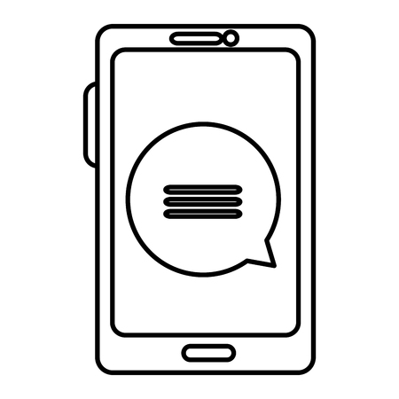 smartphone device with speech bubbles vector illustration design