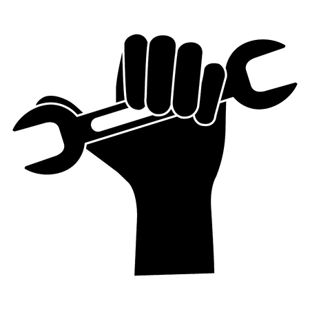 Hand with wrench tool isolated icon vector illustration design Illustration