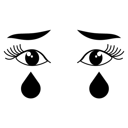 crying eyes face icon vector illustration design