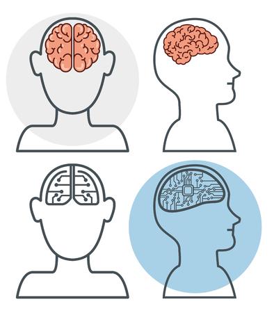 mensen versus robots kunstmatige intelligentie en menselijke intelligentie vector illustratie grafisch ontwerp