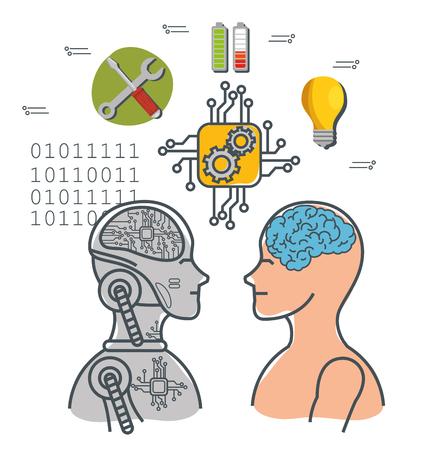 Artificial intelligence technology set icons vector illustration design Ilustração