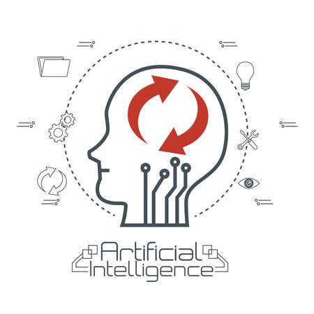 Artificial intelligence technology set icons vector illustration design Reklamní fotografie - 95376784