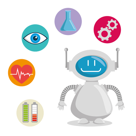 Artificial intelligence technology set icons vector illustration design.