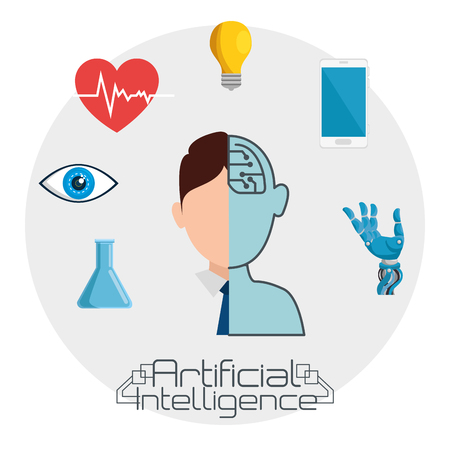 artificial inteligence technology set icons vector illustration design