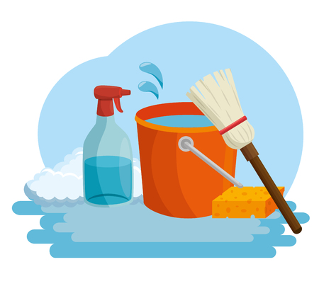 cleaning supplies with bucket sponge spray housekeeing concept vector illustration graphic design
