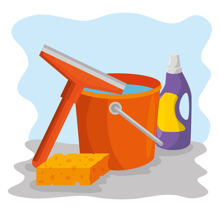 cleaning supplies with bucket sponge detergent housekeeing concept vector illustration graphic design