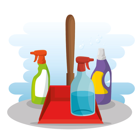 cleaning supplies with spray soap dustpan housekeeing concept vector illustration graphic design