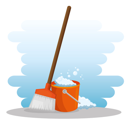 cleaning supplies with bucket and broom housekeeing concept vector illustration graphic design