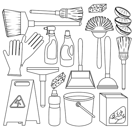 set of cleaning supplies sketch black and white vector illustration graphic design