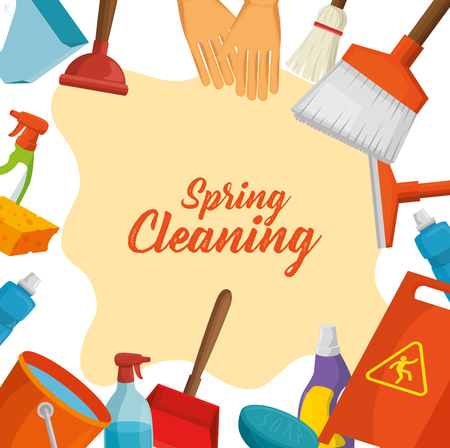 spring cleaning design concept with supplies vector illustration graphic design