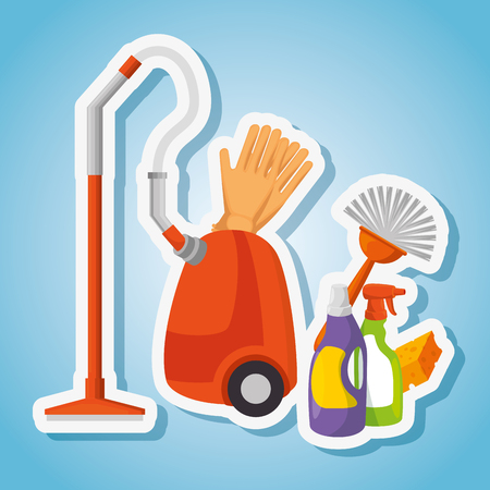cleaning supplies with vacuum brush gloves spray sponge housekeeing concept vector illustration graphic design