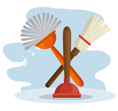 cleaning supplies with brush and broom housekeeing concept vector illustration graphic design
