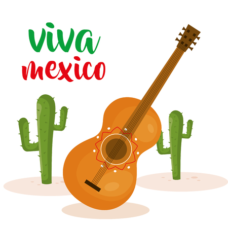 guitar and cactus mexican culture vector illustration design