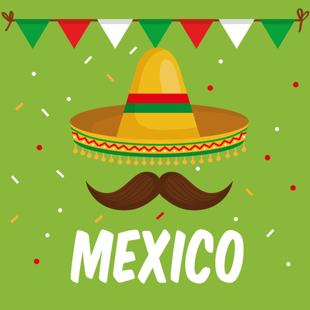 mexican culture traditional hat vector illustration design
