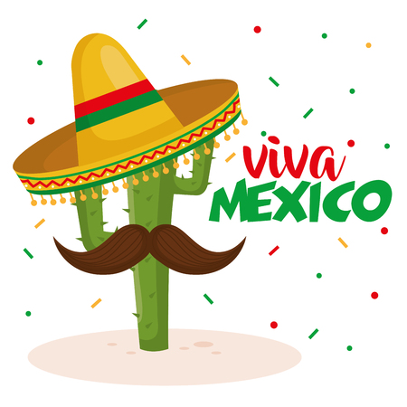 cactus with hat mexican culture vector illustration design