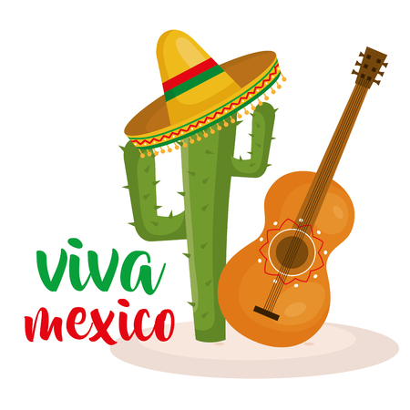 Guitar and cactus Mexican culture vector illustration design Banque d'images - 95478037