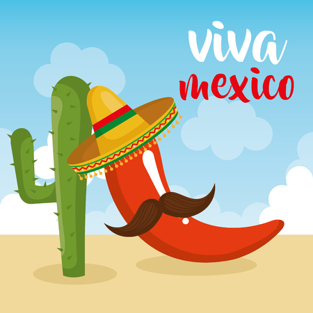 chillipepper with mustache character mexican vector illustration design
