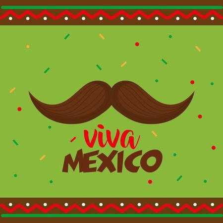 mustache viva mexico poster vector illustration design