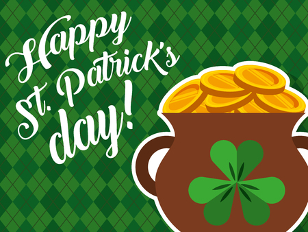 cauldron gold couins treasure happy st patrciks day vector illustration Illustration