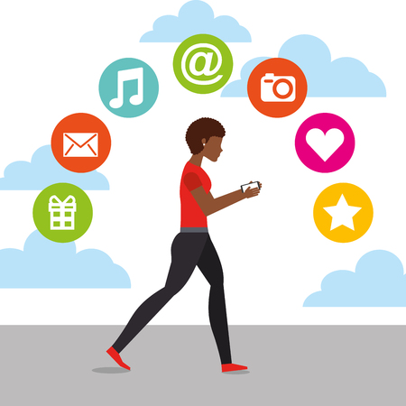 afro american woman walking with mobile in hands and social media icons vector illustration