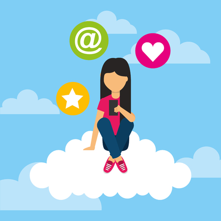 young girl sitting in cloud with mobile social media icons vector illustration