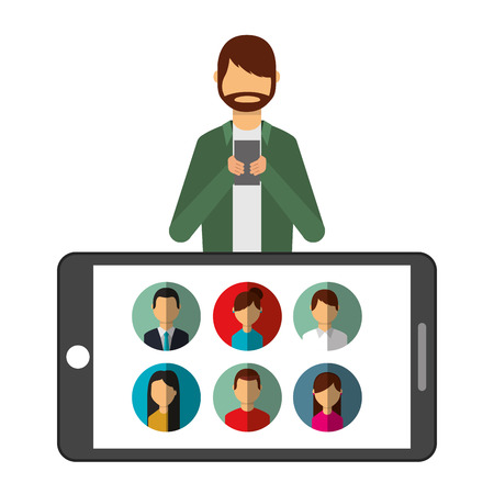 bearded man using mobile and big phone people vector illustration Illustration