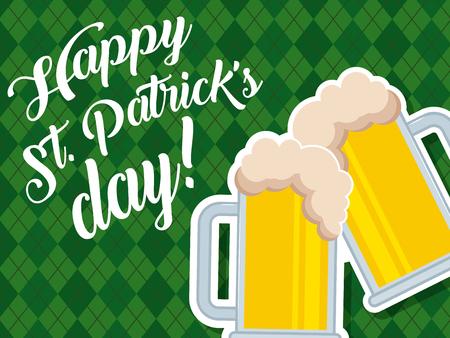 beer glasses beverage celebration happy st patricks day vector illustration