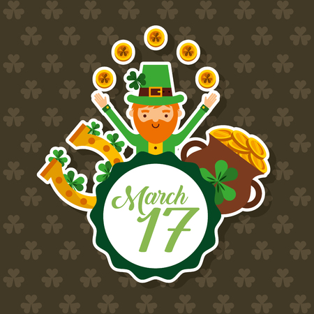 leprechaun with coin pot horseshoe clovers march 17 party vector illustration Stock Vector - 95391641