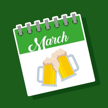 march calendar beer glasses drink st patricks celebration vector illustration