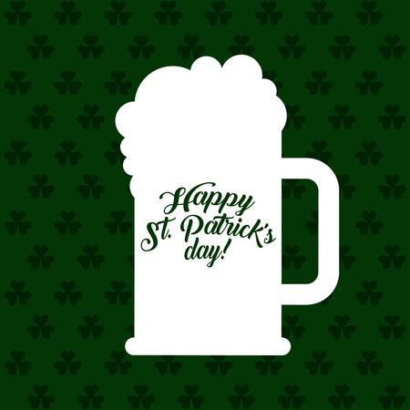 white silhouette beer glass celebration st patricks poster vector illustration Stock Vector - 95389461