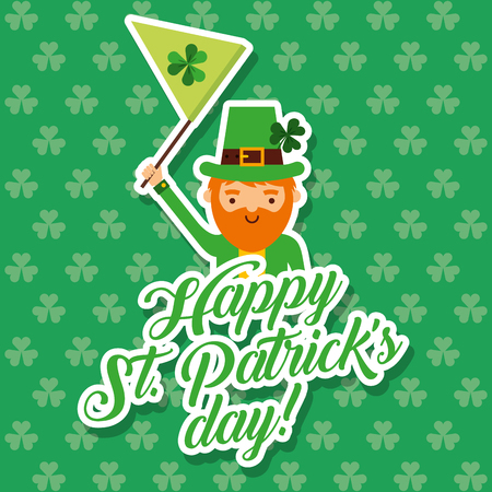 cute leprechaun waving flag st patrciks day clovers background vector illustration Illustration