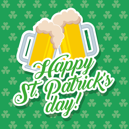 two cold beer glass celebration st patricks day clovers background vector illustration