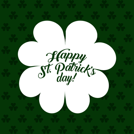 white silhouette clover st patricks day green background vector illustration Illustration