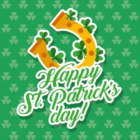 Golden Horseshoe Lucky St. Patricks Day Klee Hintergrund Vektor-Illustration Standard-Bild - 95391689