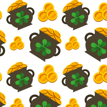 cauldron gold coins and clovers st patricks wallpaper vector illustration Stock Vector - 95391692