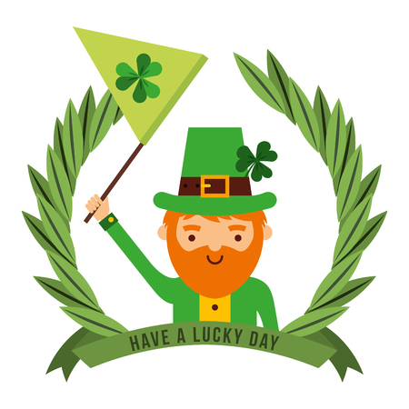 leprechaun holding green flag with clover emblem vector illustration Иллюстрация