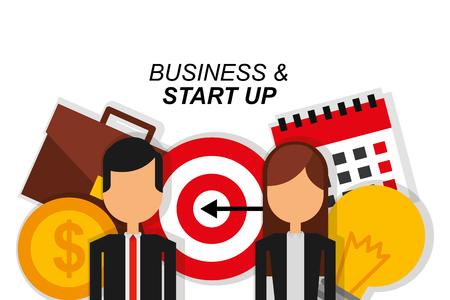 couple business and start up target suitcase money calendar vector illustration Illustration