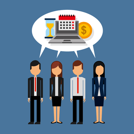business people standing with speech bubble and laptop money clock calendar vector illustration 向量圖像