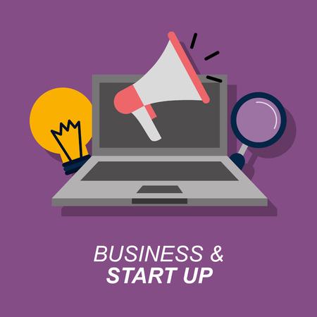 laptop megaphone bulb magnifier business and start up vector illustration
